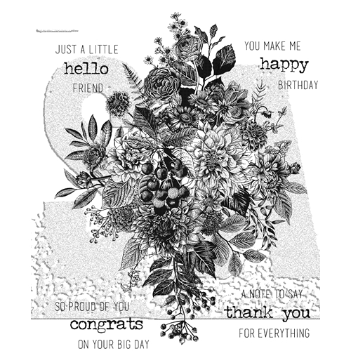Tim Holtz Cling Rubber Stamps 2018 GLORIOUS BOUQUET WITH GRID BLOCK CMS325 Preview Image