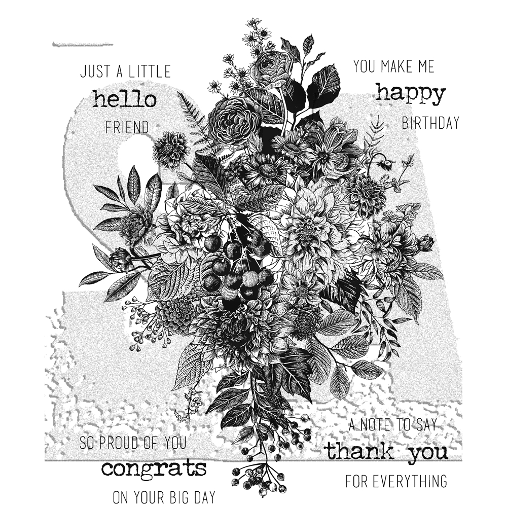 Tim Holtz Cling Rubber Stamps 2018 GLORIOUS BOUQUET WITH GRID BLOCK CMS325 zoom image