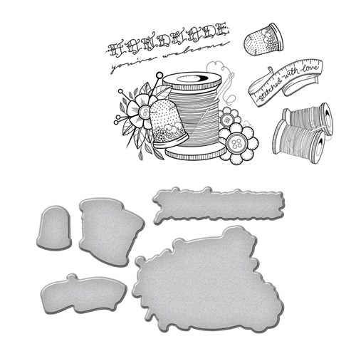 SDS-075 Spellbinders SEW HANDMADE by Stephanie Low Cling Stamp and Die Set* Preview Image