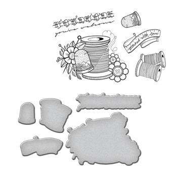 SDS-075 Spellbinders SEW HANDMADE by Stephanie Low Cling Stamp and Die Set