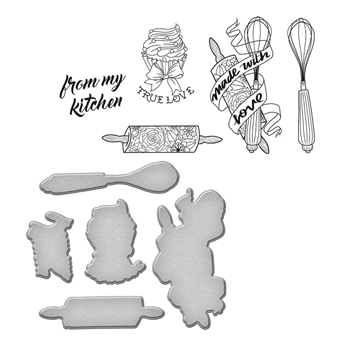 SDS-074 Spellbinders KITCHEN COLLECTION by Stephanie Low Cling Stamp and Die Set