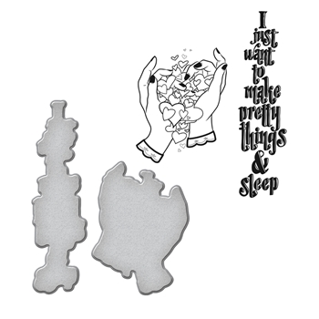 SDS-070 Spellbinders PRETTY by Stephanie Low Cling Stamp and Die Set