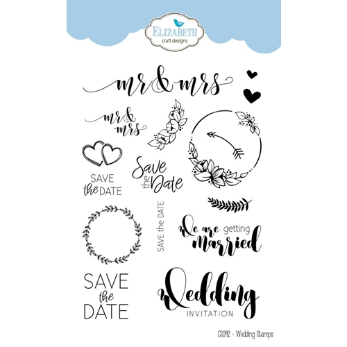 Wedding Sentiments For Cards | Elizabeth Craft Designs Clear Stamps Wedding Sentiments Cs092 At