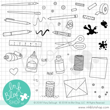 Ink Blot Shop Clear Stamp Set ARTS & CRAFTS ICONS inbl031
