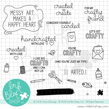 Ink Blot Shop Clear Stamp Set ARTS & CRAFTS SENTIMENTS inbl032