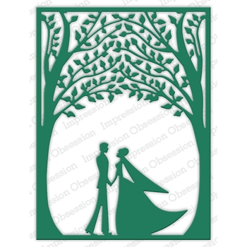 Impression Obsession Steel Dies BRIDE AND GROOM FRAME DIE616-YY