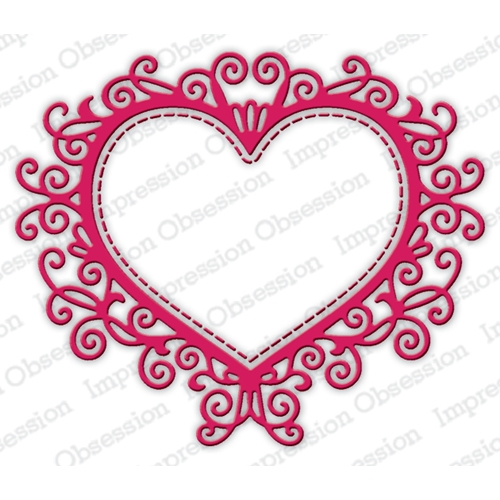 Impression Obsession Steel Dies FLOURISH HEART DIE635-Z Preview Image