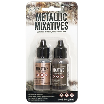 RESERVE Tim Holtz Alcohol Ink Set ROSE GOLD & GUNMETAL Metallic Mixatives Ranger tak58762
