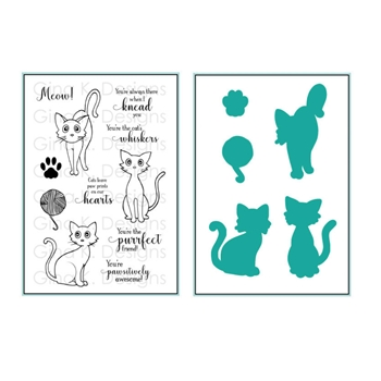 Gina K Designs FRISKY FELINES Clear Stamps and Coordinating Dies 5515