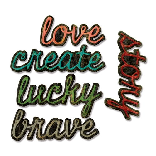 Tim Holtz Sizzix SHADOW SCRIPT 1 Thinlits Die 662684 Preview Image