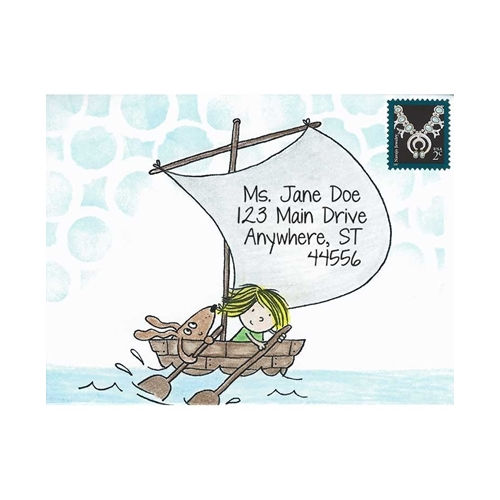 Inky Antics BOAT GIRL & PUP Cling Stamp Set Mail Pals icl3-101 Preview Image
