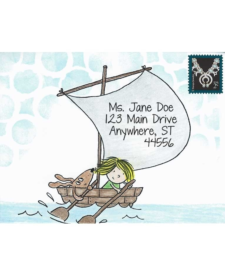 Inky Antics BOAT GIRL & PUP Cling Stamp Set Mail Pals icl3-101 zoom image