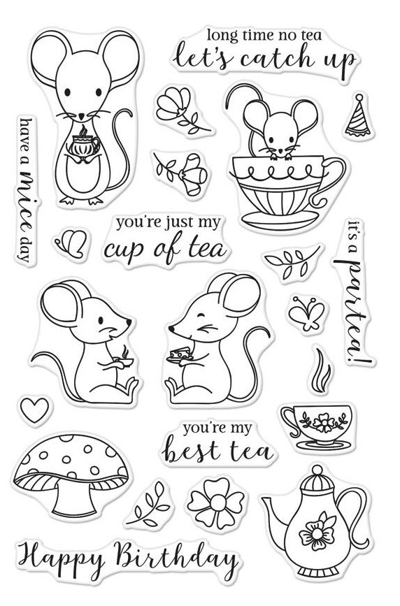 Hero Arts Clear Stamps MOUSE TEA PARTY CM235 zoom image