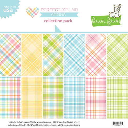 Lawn Fawn Perfectly Plaid Spring 12 x 12 Paper Pack