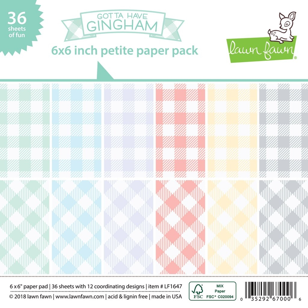 Lawn Fawn GOTTA HAVE GINGHAM 6x6 Inch Petite Paper Pack LF1647 zoom image