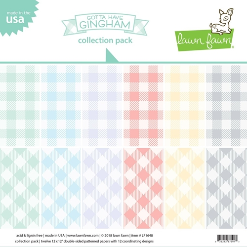 RESERVE Lawn Fawn GOTTA HAVE GINGHAM 12x12 Inch Collection Pack LF1648 Preview Image