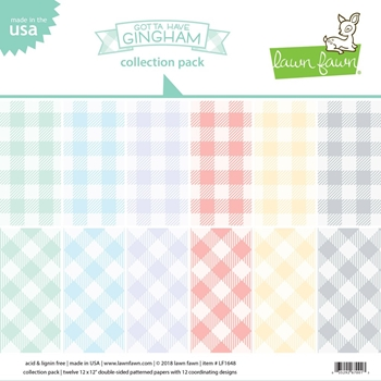 RESERVE Lawn Fawn GOTTA HAVE GINGHAM 12x12 Inch Collection Pack LF1648