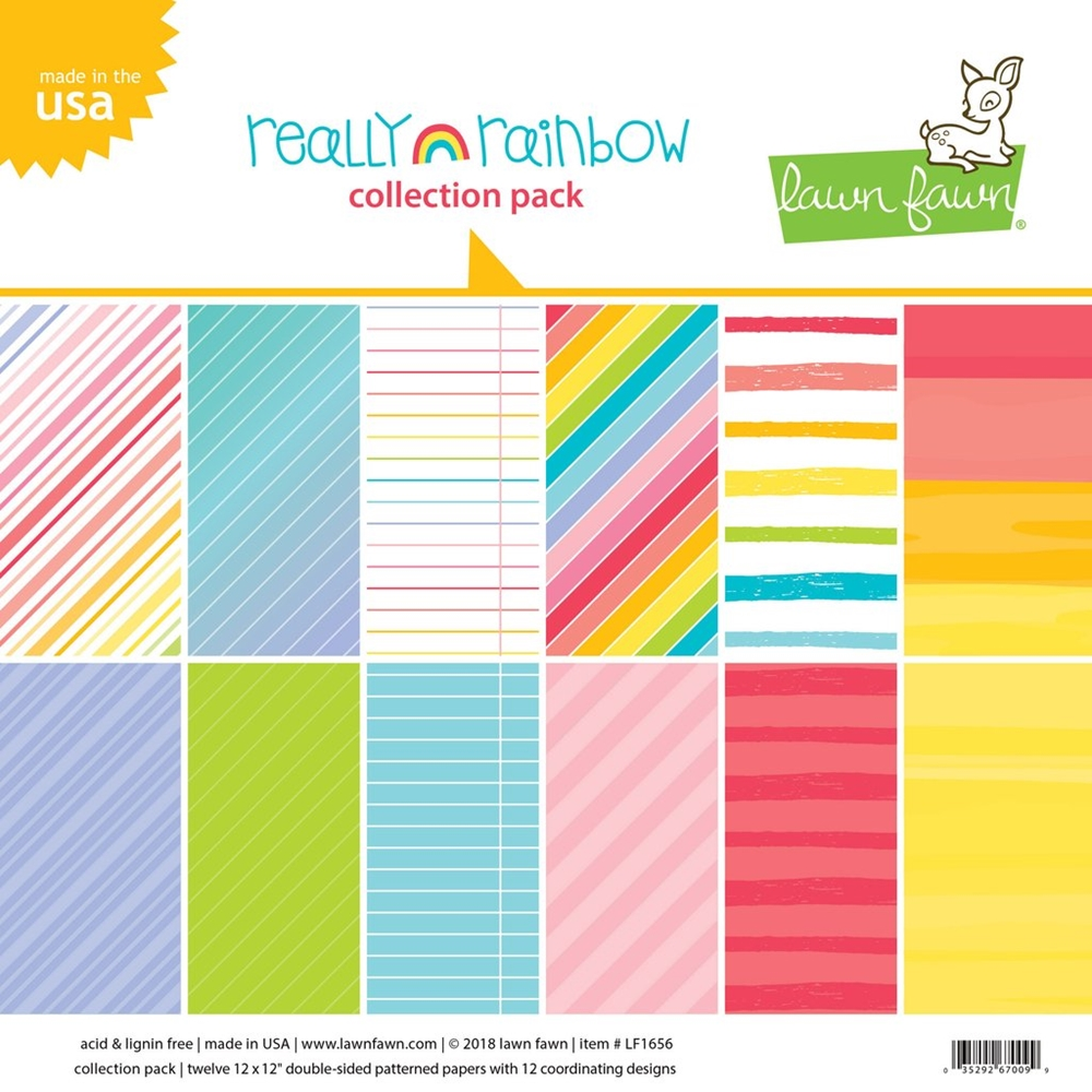 RESERVE Lawn Fawn REALLY RAINBOW 12x12 Inch Collection Paper Pack LF1657 zoom image