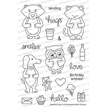 Newton's Nook Designs SENDING HUGS Clear Stamp Set NN1801S04