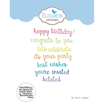 Elizabeth Craft Designs WORDS 1 CELEBRATION Craft Die 1465