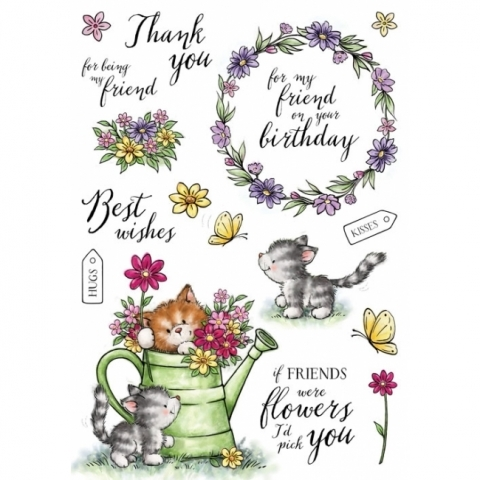 Wild Rose Studio CATS IN THE GARDEN Clear Stamp Set AS008 zoom image