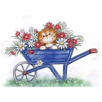 Wild Rose Studio CAT IN WHEELBARROW Clear Stamp Set CL516