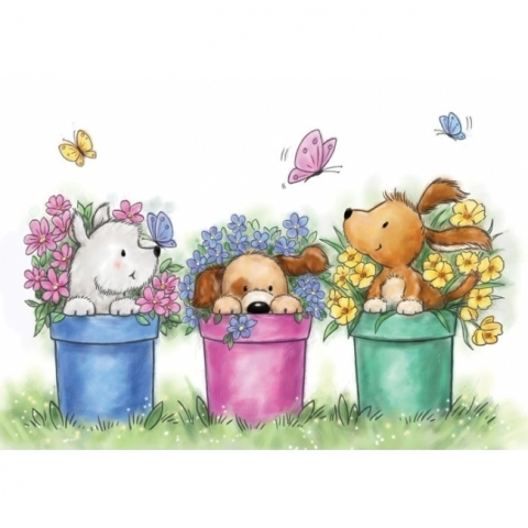Wild Rose Studio Dogs In Pots Clear Stamp