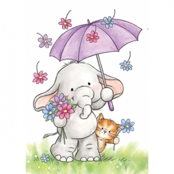 Wild Rose Studio BELLA WITH UMBRELLA Clear Stamp Set CL514