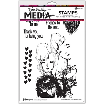 Dina Wakley FRIENDS TO THE END Media Cling Rubber Stamp MDR60987