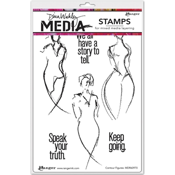 Dina Wakley CONTOUR FIGURES Media Cling Rubber Stamp MDR60970*