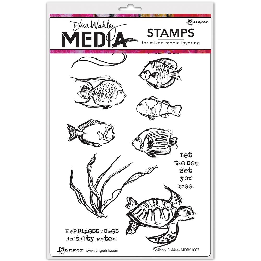 Dina Wakley SCRIBBLY FISHIES Media Cling Rubber Stamp MDR61007 zoom image