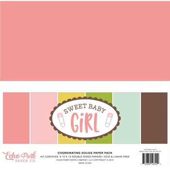 Echo Park SWEET BABY GIRL 12 x 12 Double Sided Solids Paper Pack sbg142015