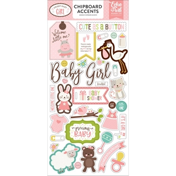 Echo Park SWEET BABY GIRL Chipboard Accents sbg142021