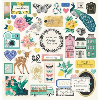 Crate Paper FLOURISH 12 x 12 Chipboard Stickers 344386