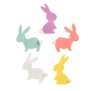 Darice Felt BUNNY STICKERS With Pom Pom Tails 30001914