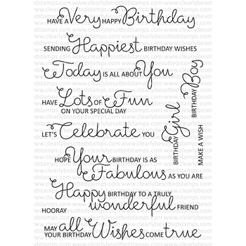 Clearly Besotted SCRUMPTIOUS BIRTHDAY SENTIMENTS Clear Stamp Set