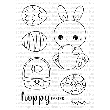 Clearly Besotted HOPPY EASTER Clear Stamp Set