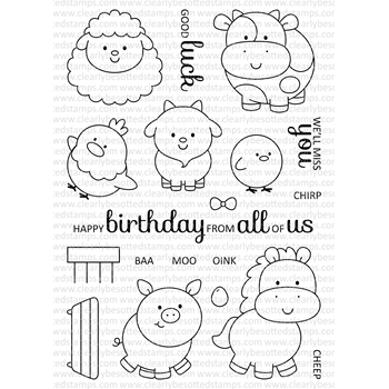 Clearly Besotted FUN ON THE FARM Clear Stamp Set