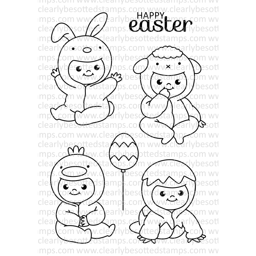 Clearly Besotted ALL IN ONESIE EASTER Clear Stamp Set zoom image