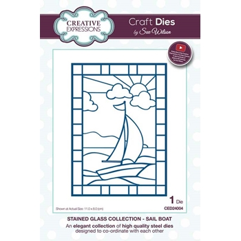 Creative Expressions SAIL BOAT Sue Wilson Stained Glass Collection Die Set ced24004