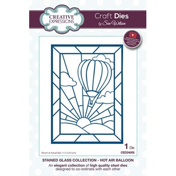 Creative Expressions HOT AIR BALLOON Sue Wilson Stained Glass Collection Die Set ced24005