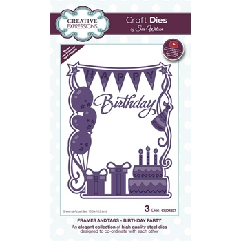 Creative Expressions BIRTHDAY PARTY Sue Wilson Frames and Tags Collection Die Set ced4337