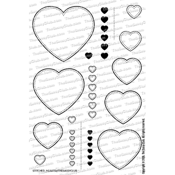 The Sassy Club STITCHED HEARTS Clear Stamps tscl118