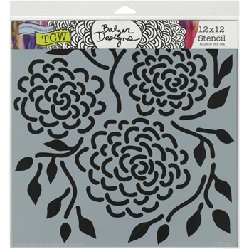 The Crafter's Workshop ROUND FLOWERS 12x12 Stencil tcw758