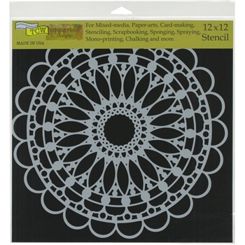 The Crafter's Workshop SCALLOPED MANDALA 12x12 Stencil tcw775