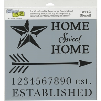 The Crafter's Workshop HOME SWEET 12x12 Stencil tcw797