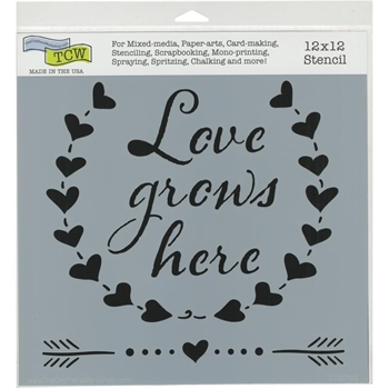 The Crafter's Workshop LOVE GROWS 12x12 Stencil tcw798