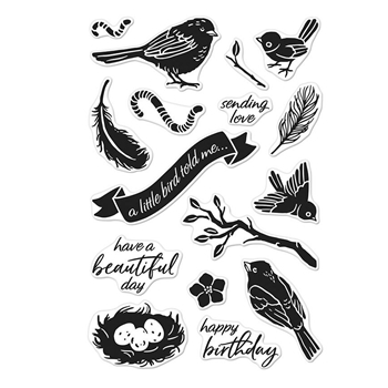 Hero Arts Clear Stamps A LITTLE BIRDIE TOLD ME CM244