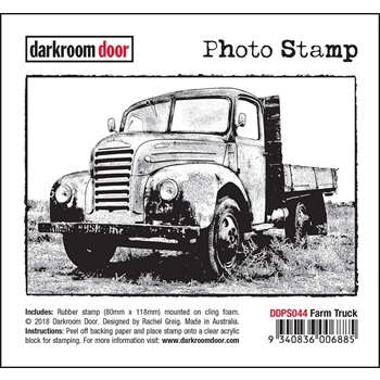 Darkroom Door Cling Stamp FARM TRUCK Photo Rubber UM ddps044