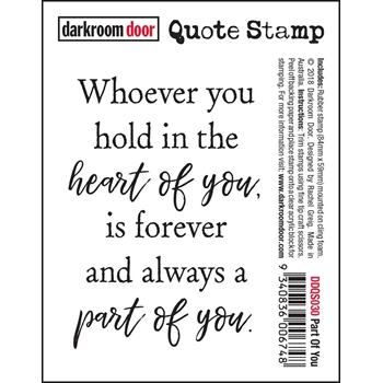 Darkroom Door Cling Stamp PART OF YOU Quote Stamp ddqs030